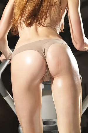 Redhead Wet and Sexy Gymnastics