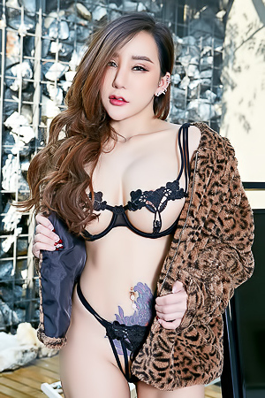 Tattooed Asian Rayna in Lingerie